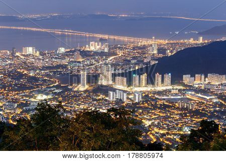 Top view of Georgetown capital of Penang Island Malaysia from top of Penang hill.
