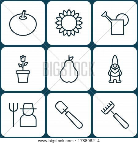 Set Of 9 Plant Icons. Includes Rake, Shovel, Dwarf And Other Symbols. Beautiful Design Elements.