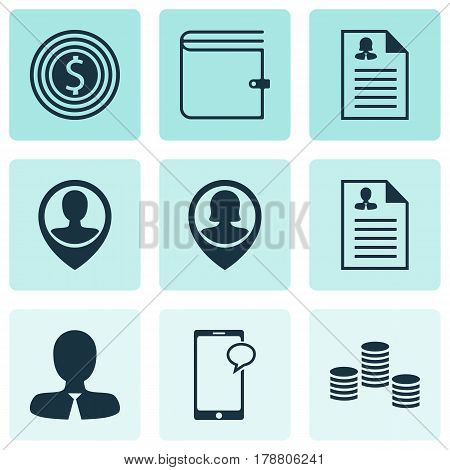 Set Of 9 Human Resources Icons. Includes Messaging, Employee Location, Pin Employee And Other Symbols. Beautiful Design Elements.