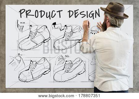 Shoe production procedure sketch drawing