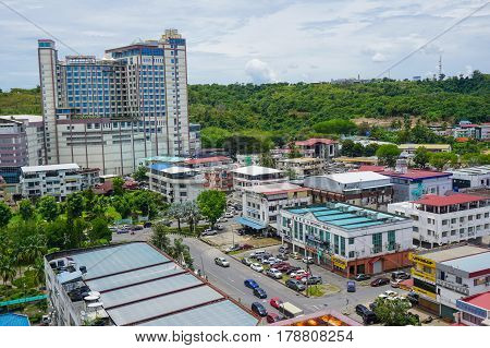 Miri,Sarawak-Mac 26,2017:Miri city view on 26th Mac 2017 in Miri,Sarawak,Borneo.Miri is the second largest city in Sarawak & the town developed rapidly following the discovery of oil & gas.