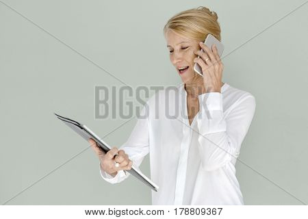Woman Smiling Happiness Mobile Phone Connection Working