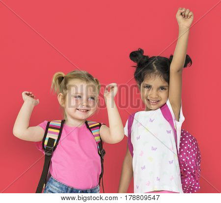 Little Girls Hands Up Cheerful Happy