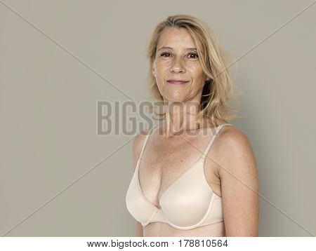 Blond White Woman Smile Happy Sexy Bikini Studio Portrait