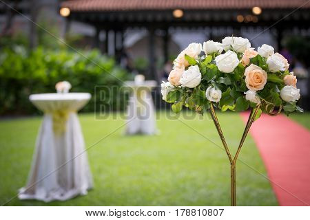 Flowers at a wedding, raffles hotel singapore