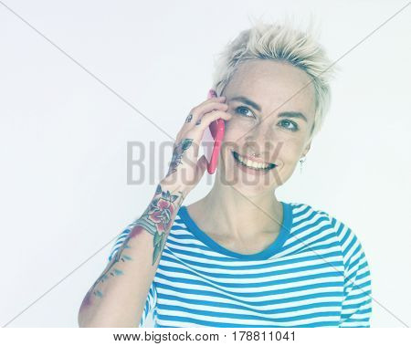 Caucasian woman talking mobile phone and smiling