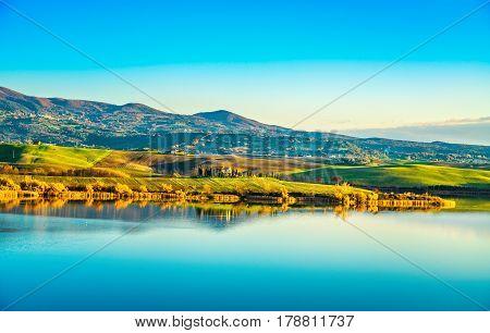 Tuscany Santa Luce lake panorama at sunset Pisa Italy Europe