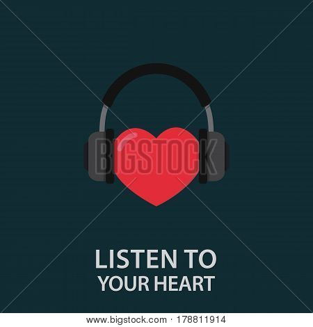 Listen To Your Heart Illustration. Headphone with Heart Shape