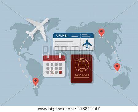 Travel Planning. Passport, Airplane Ticket and Calendar Over World Map