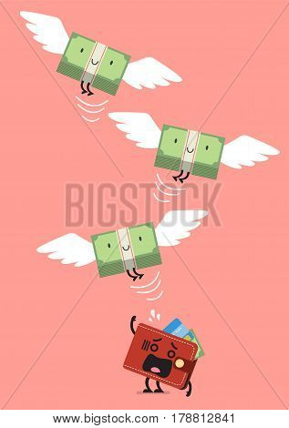 Money bill flying out of wallet character. Business concept