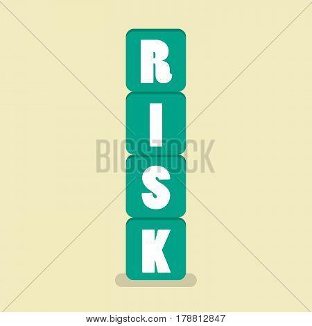Risk blocks flat style. Vector Illustration cartoon