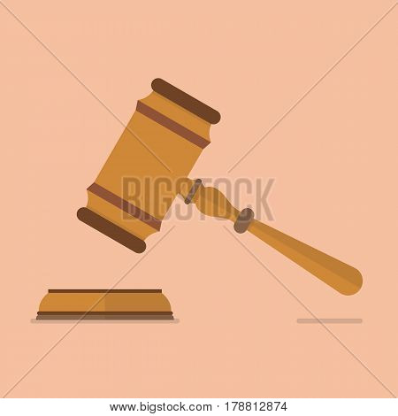 Wooden judge gavel and soundboard. Auction concept