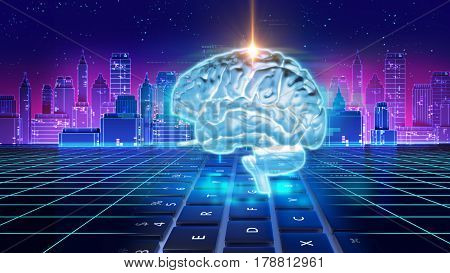 Double Exposure Image Of Human Brain 3D Illustration