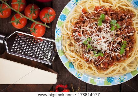 Italian pasta bolognese, spaghetti in ground beef and tomato sauce