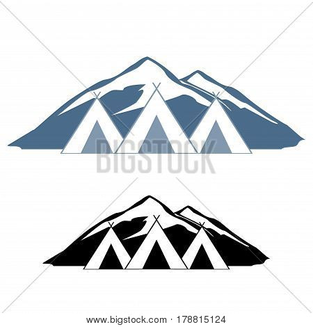 Logos of wigwams. Logo rest in the mountains. For travel Agency. poster