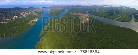 Aerial panorama view on estuaries and strait on Koh Lanta island, Thailand