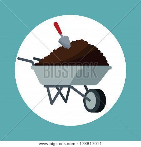 wheelbarrow with eart shovel garden vector illustration eps 10