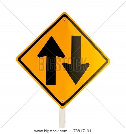 Traffic sign, Two way traffic ahead sign on white background