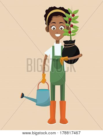 african woman farmer plant and water can vector illustration eps 10