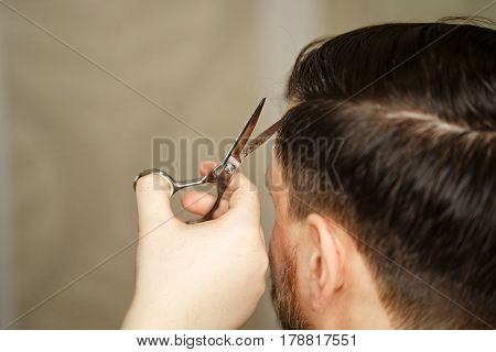 Professional hairdresser doing haircut men's hair. Haircut with scissors. Beauty saloon. Male beauty. The client is a hipster. poster
