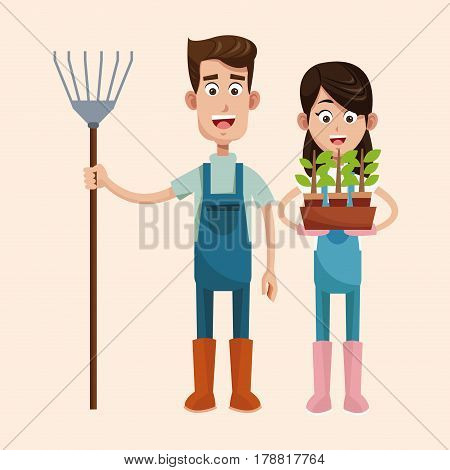 couple farmers with pitchfork and pot plant vector illustration