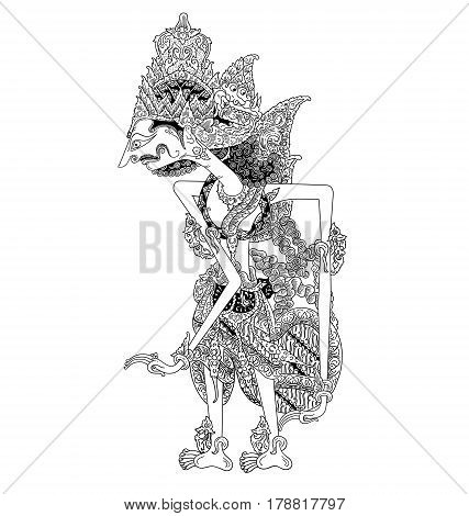 Basukunti, a character of traditional puppet show, wayang kulit from java indonesia.