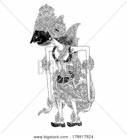 Basukiswara, a character of traditional puppet show, wayang kulit from java indonesia.