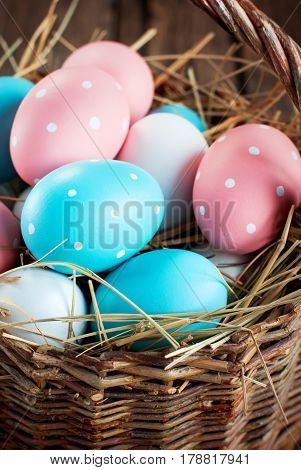 Close Up Easter Eggs In The Basket