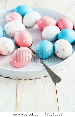 Easter Eggs Painted Pink, Blue Colors And Peas