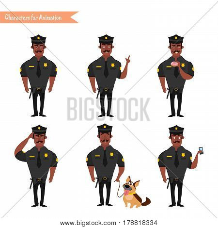 Set of colorful isolated vector African American policeman at work. African American Policeman Funny Characters Set. policeman character for scenes. Parts of body template for animation.
