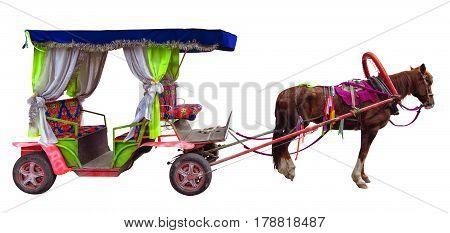 Horse carriages isolated on white. Clipping Path included