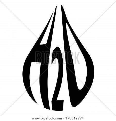 formula of water H2O in the form of a drop vector concept of ecology clean planet