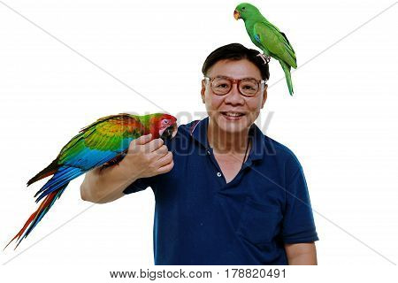 Lovely red and blue macaw parrot and male eclectus parrot feel happy and enjoy with man. Isolated on white background.