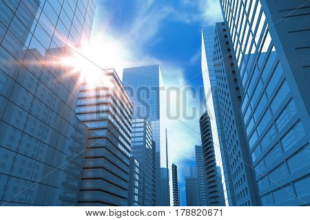 Blurry animated flare against blue sky with clouds 3d