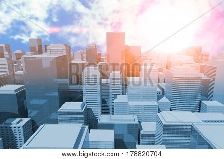 Blurry animated flare against view of beautiful sky and clouds 3d