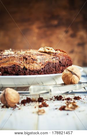 Pie From Chocolate, Cottage Cheese And Walnuts