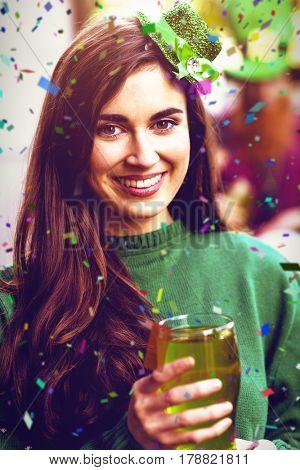 Flying colours against portrait of woman celebrating st patricks day 3d