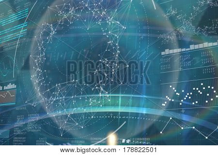 Blue and black technology design against genes diagram on black background 3d