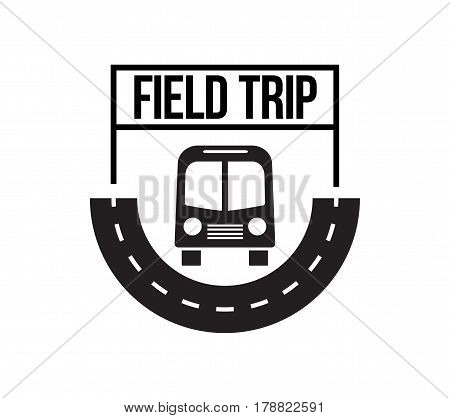 Bus field trip and travel badge logo for traffic service tourism, black emblem, vector flat style illustration isolated on white background