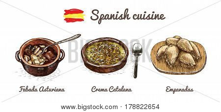 Spanish menu colorful illustration. Vector illustration of Spanish cuisine.