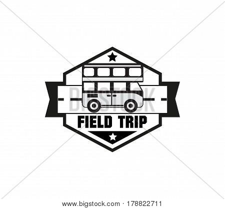 Bus trip and travel badge logo for traffic service tourism, black emblem, vector flat style illustration isolated on white background