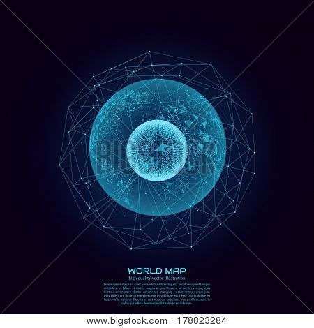 Polygonal world map. Point and line composition. Global network connection continent and planet, vector illustration