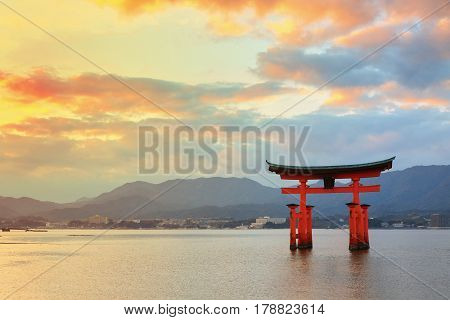 Great Floating Gate (o-torii) On Miyajima Island Near Itsukushima Shinto Shrine With Beautiful Sunse