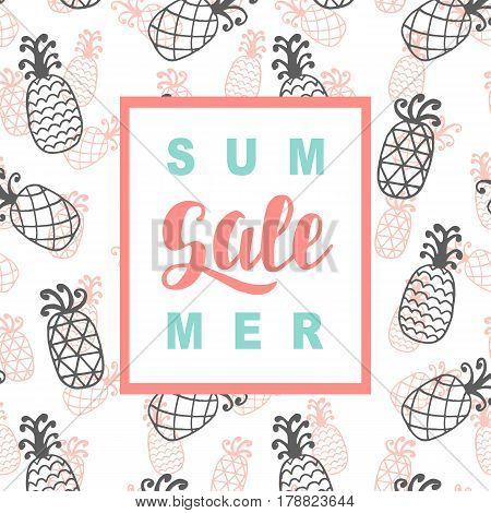 Summer Sale promotional banner template in trendy colors, pineapple pattern. Website, mobile,  email marketing. E-commerce poster, flyer design with lettering. Vector illustration