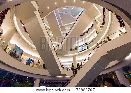 Bangkok, Thailand - December 24, 2011: Interior of Siam Paragon Shopping Mall in Christmas Holiday