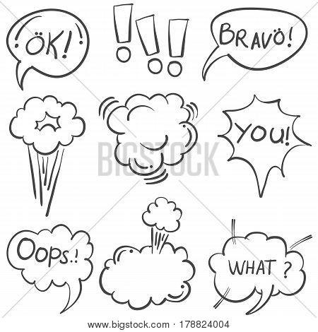 Vector art of speech bubble doodles collection stock