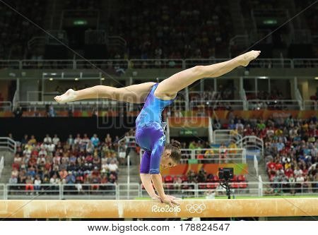 Artistic gymnast Aliya Mustafina of Russian Federation competes on the balance beam at women's all-around gymnastics at Rio 2016 Olympic Games