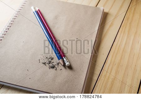 Eraser and error with sharpened pencil concept Mistake erase concept