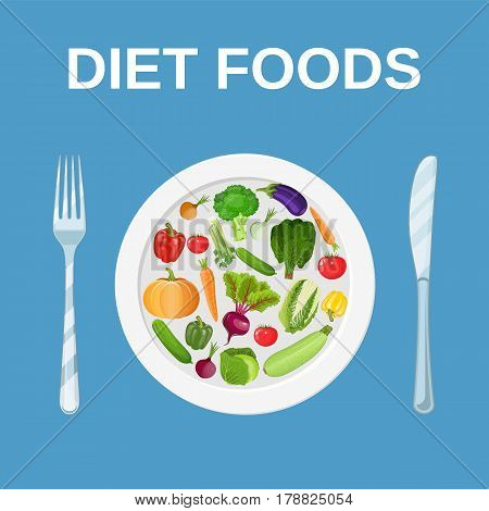 Diet food. Dieting and nutrition. plate with tomatoes, peppers, cucumbers and fork, knife. Vector illustration in flat style