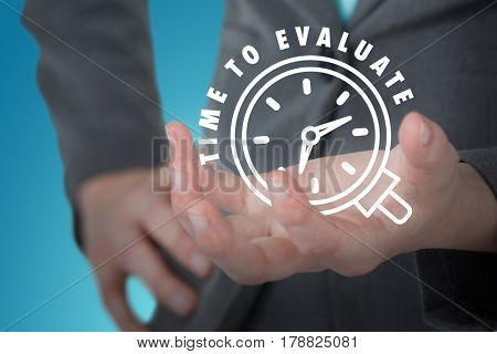 Businesswoman gesturing against white background against blue vignette background 3d